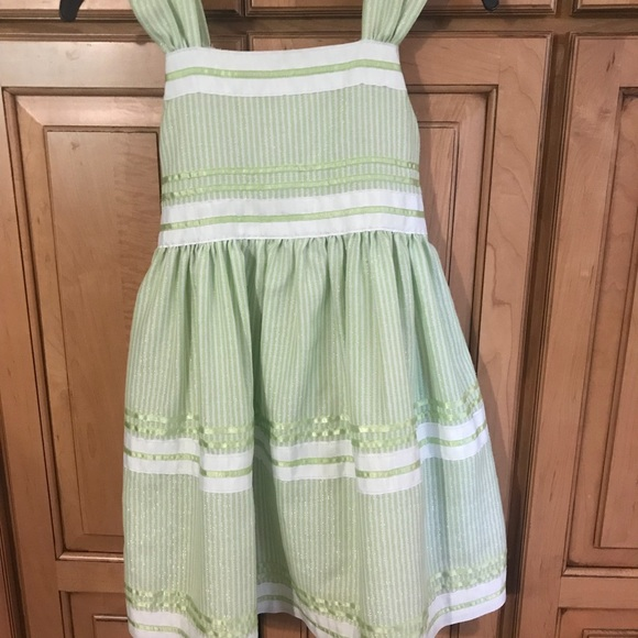 62a133249b5 Bonnie Jean Dresses | Girls Green Silver Striped Dress 6x | Poshmark